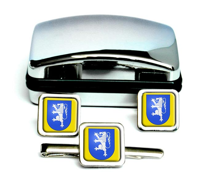 Locarno (Switzerland) Square Cufflink and Tie Clip Set