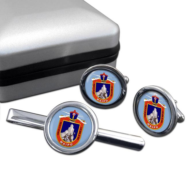 Maipu (Chile) Round Cufflink and Tie Clip Set