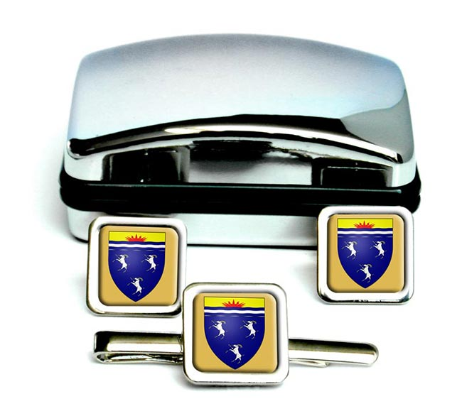 Merionethshire-Square Cufflink and Tie Clip Set