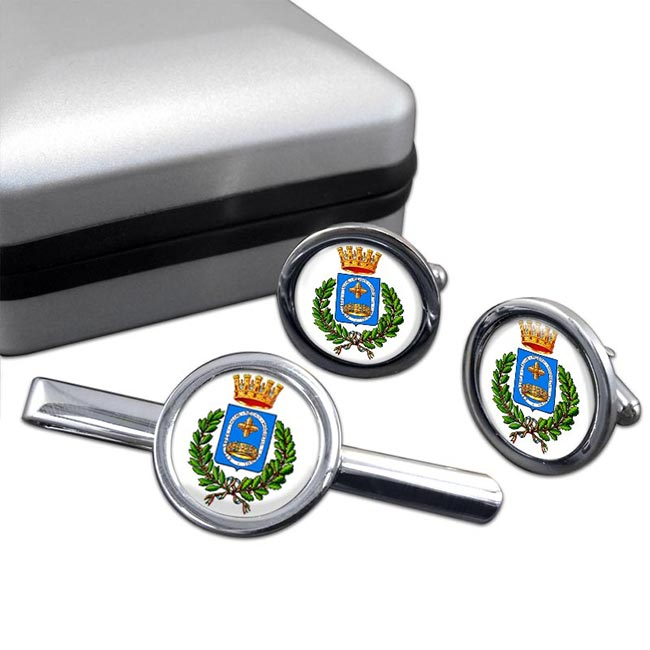 Monza (Italy) Round Cufflink and Tie Clip Set