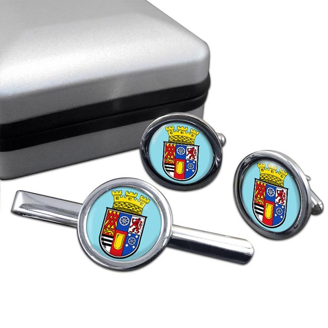 Mulheim (Germany) Round Cufflink and Tie Clip Set