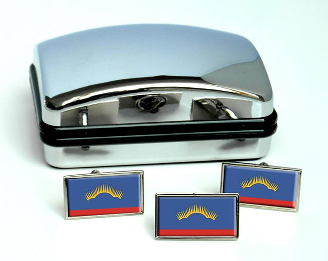 Murmansk Oblast Flag Cufflink and Tie Pin Set
