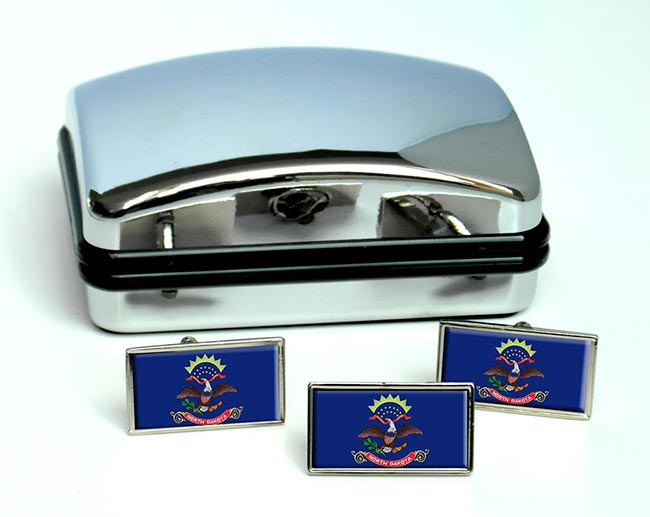 North Dakota  Flag Cufflink and Tie Pin Set