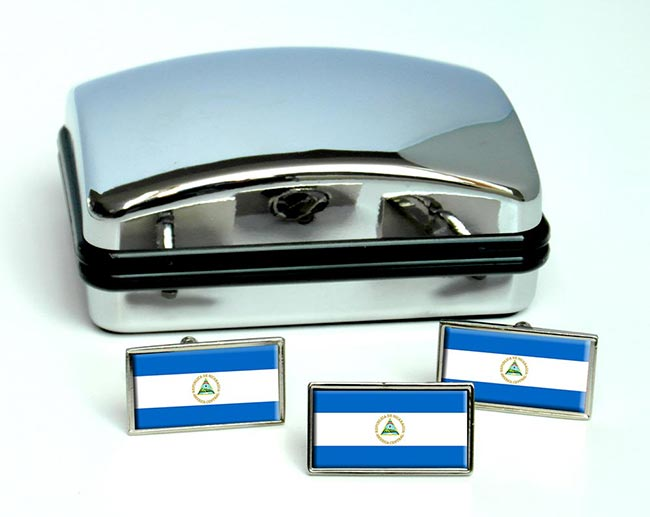 Nicaragua Flag Cufflink and Tie Pin Set