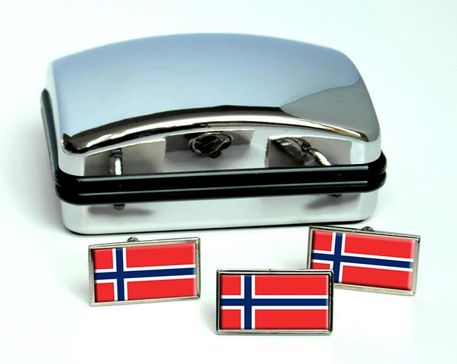 Norway Norge Flag Cufflink and Tie Pin Set