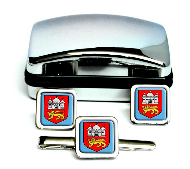 Norwich (England) Square Cufflink and Tie Clip Set