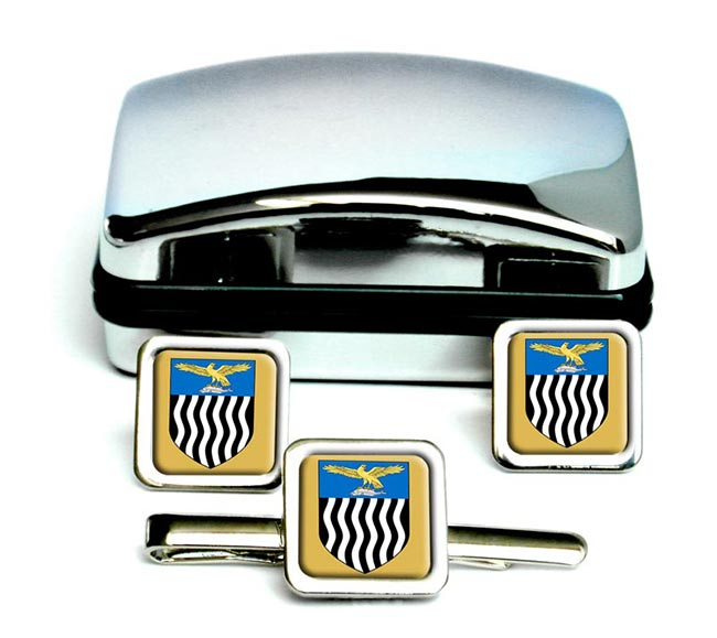 Northern Rhodesia Square Cufflink and Tie Clip Set