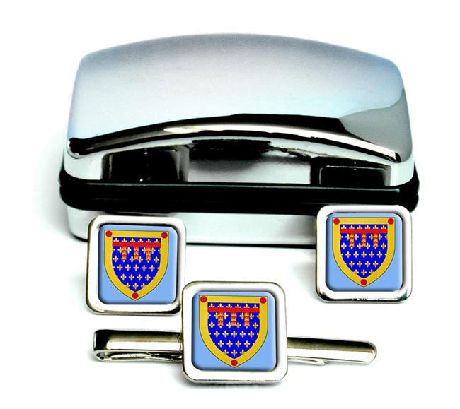 Pas-de-Calais (France) Square Cufflink and Tie Clip Set