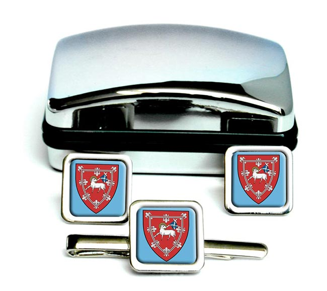 Perth (Scotland) Square Cufflink and Tie Clip Set