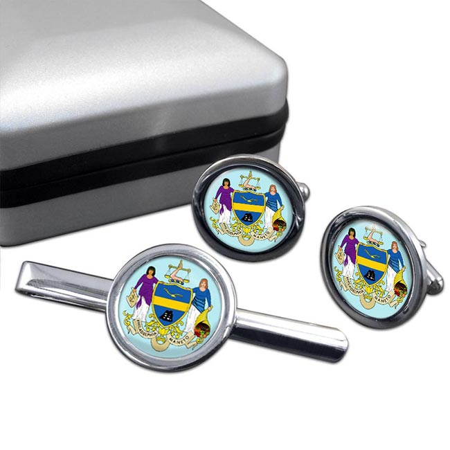 Philadelphia PA  Round Cufflink and Tie Clip Set