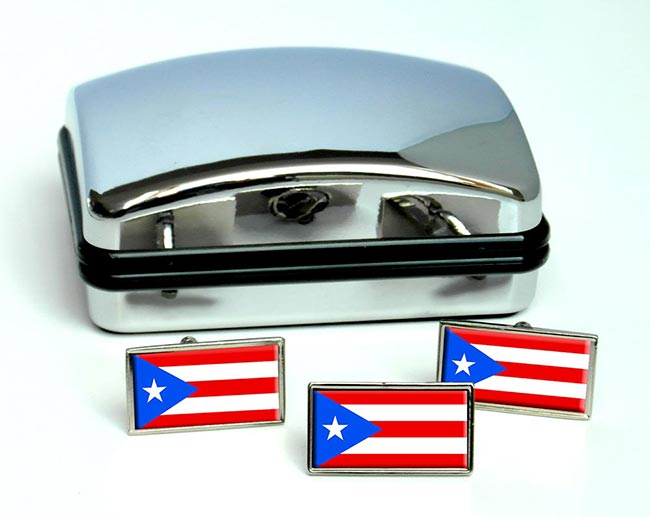 Puerto Rico Flag Cufflink and Tie Pin Set