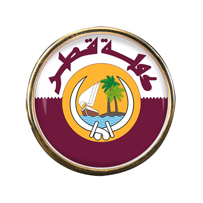 Qatar Round Pin Badge