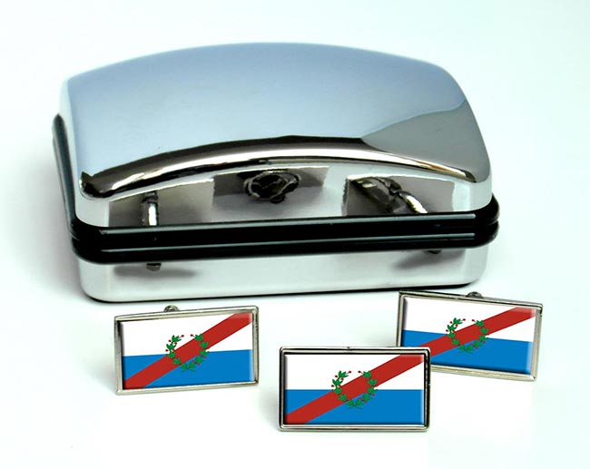 Argentine La Rioja Province Flag Cufflink and Tie Pin Set