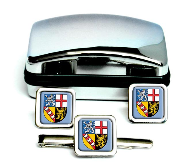 Saarland (Germany) Square Cufflink and Tie Clip Set