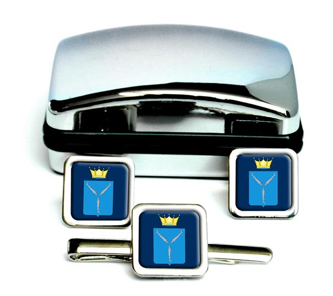 Saratov Oblast Square Cufflink and Tie Clip Set