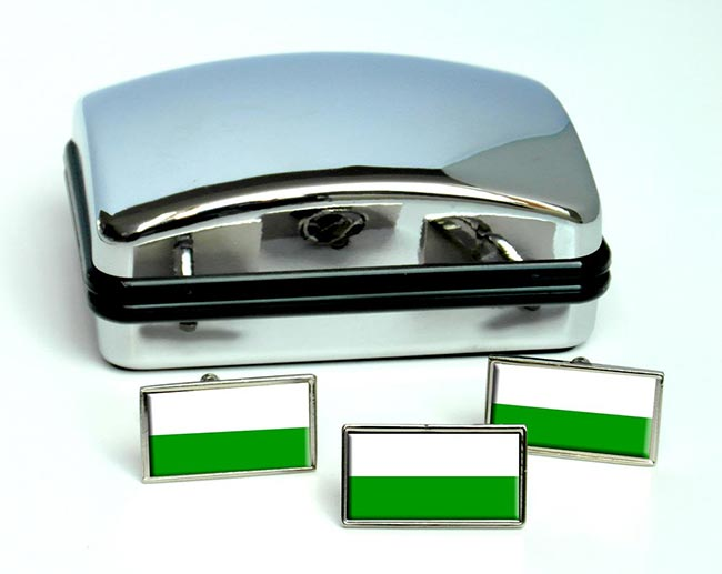Sachsen Saxony (Germany) Flag Cufflink and Tie Pin Set