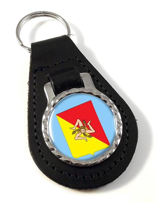Sicily Sicilia (Italy) Leather Key Fob