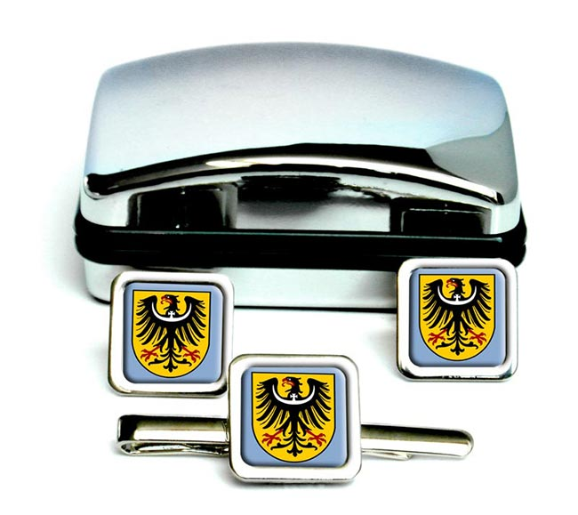 Schlesien Silesia (Germany) Square Cufflink and Tie Clip Set