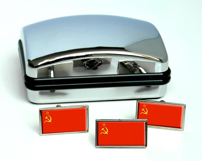 Soviet Union USSR  Flag Cufflink and Tie Pin Set