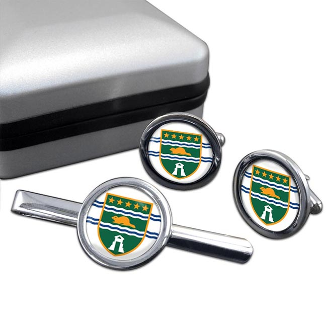 Surrey (Canada) Round Cufflink and Tie Clip Set
