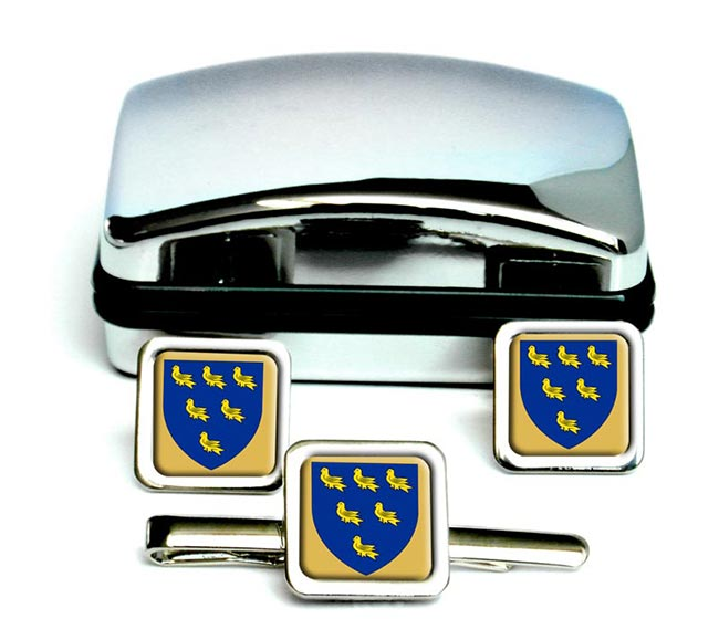 Sussex (England) Square Cufflink and Tie Clip Set