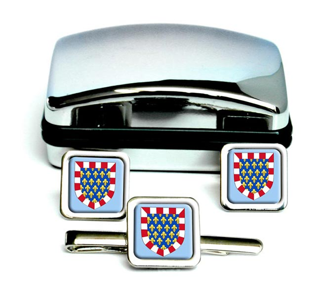 Touraine (France) Square Cufflink and Tie Clip Set