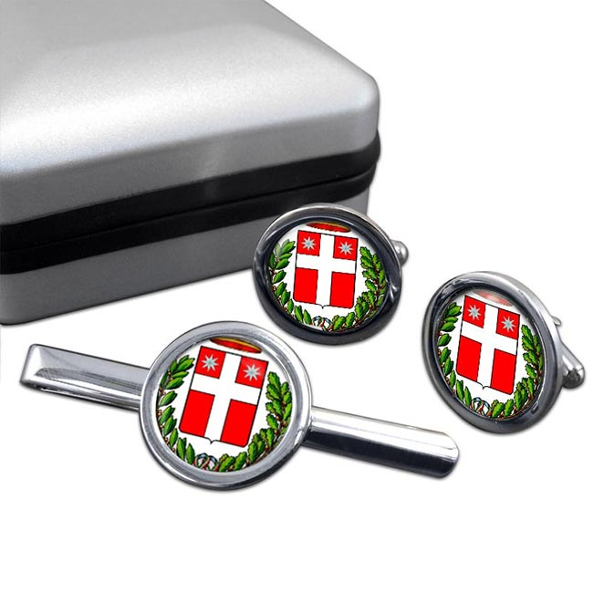 Treviso (Italy) Round Cufflink and Tie Clip Set