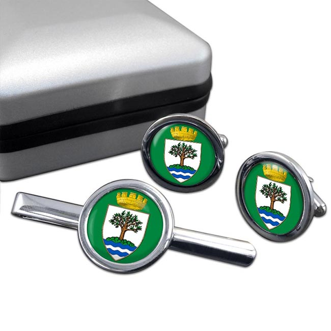 Worcestershire (England) Round Cufflink and Tie Clip Set