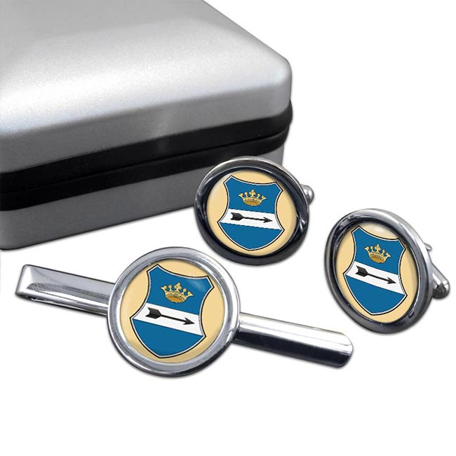Zala Round Cufflink and Tie Clip Set