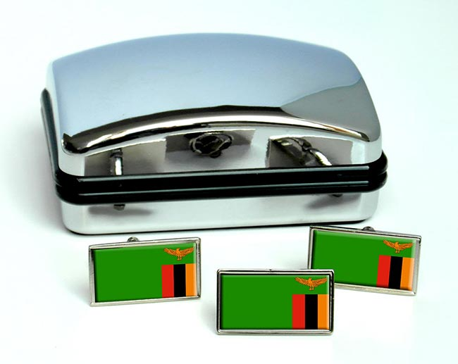 Zambia Flag Cufflink and Tie Pin Set