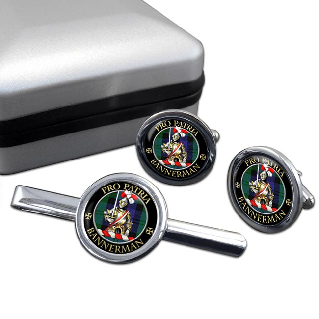 Bannerman Scottish Clan Round Cufflink and Tie Clip Set