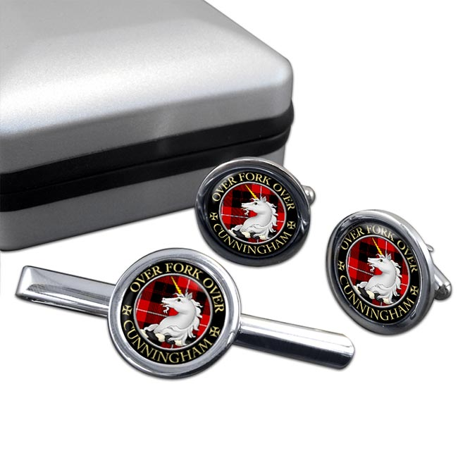 Cunningham Scottish Clan Round Cufflink and Tie Clip Set