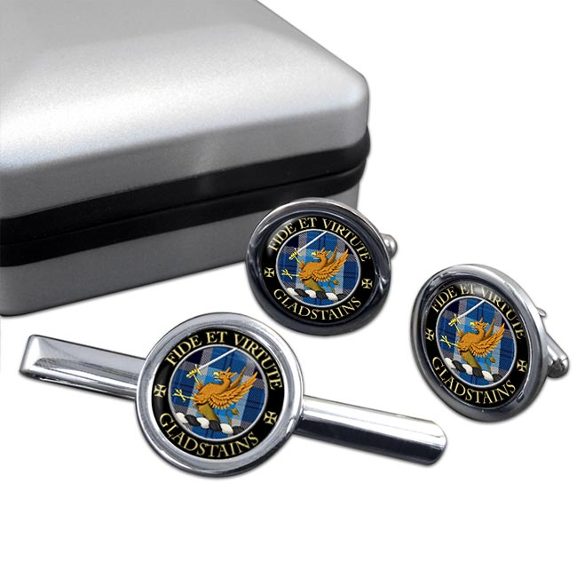 Gladstains Scottish Clan Round Cufflink and Tie Clip Set