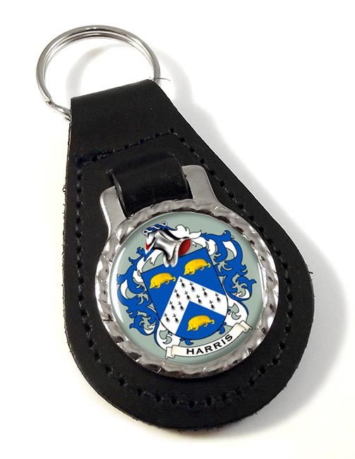 Harris Coat of Arms Leather Key Fob