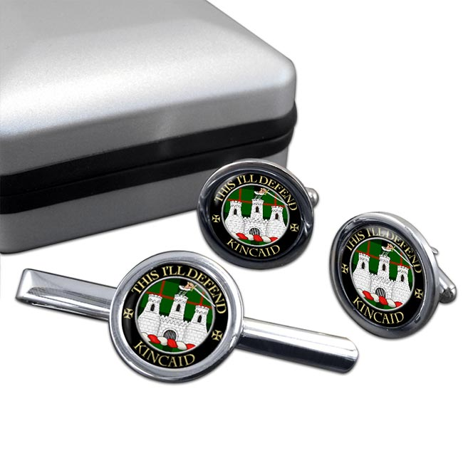 Kincaid Scottish Clan Round Cufflink and Tie Clip Set
