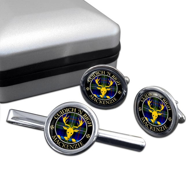Mackenzie of Kintail Scottish Clan Round Cufflink and Tie Clip Set