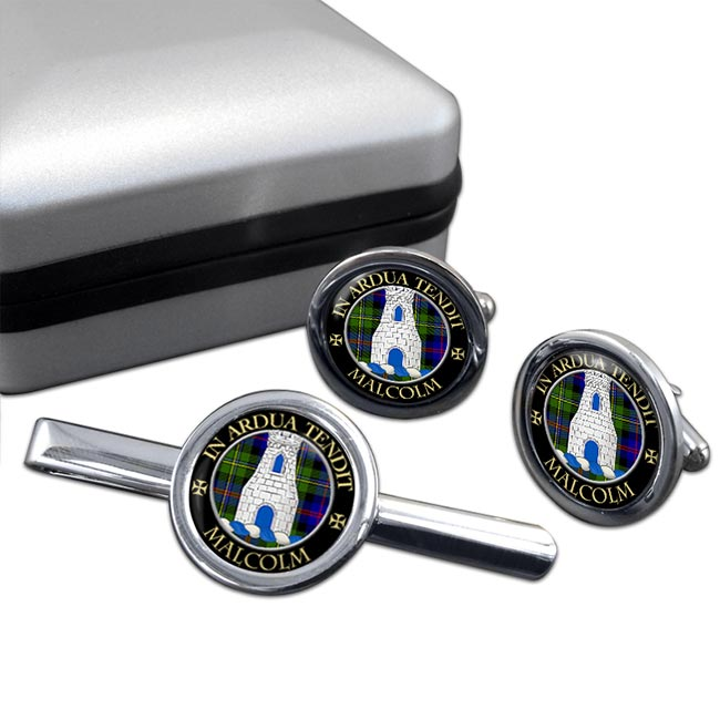 Malcolm Scottish Clan Round Cufflink and Tie Clip Set