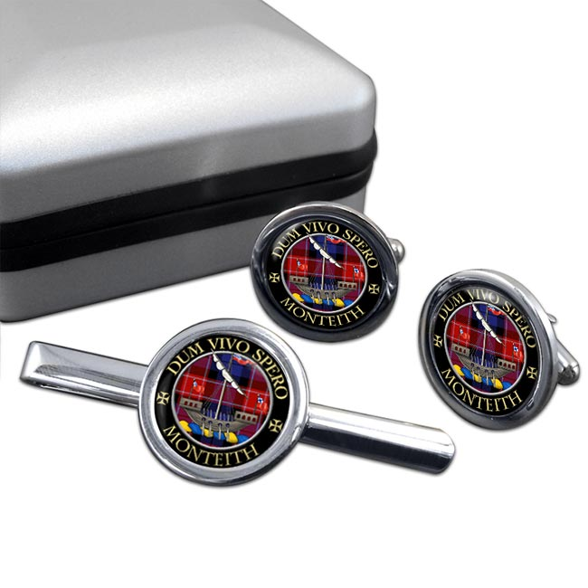 Monteith Scottish Clan Round Cufflink and Tie Clip Set