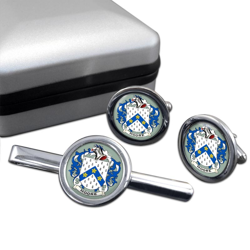 Moore English Coat of Arms Round Cufflink and Tie Clip Set