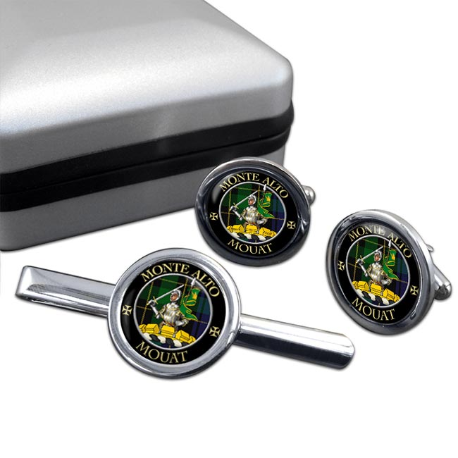 Mouat Scottish Clan Round Cufflink and Tie Clip Set