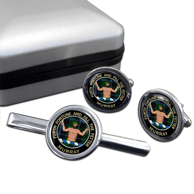Murray (Savage) Scottish Clan Round Cufflink and Tie Clip Set
