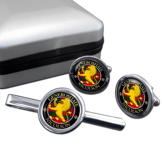 Nicolson Scottish Clan Round Cufflink and Tie Clip Set