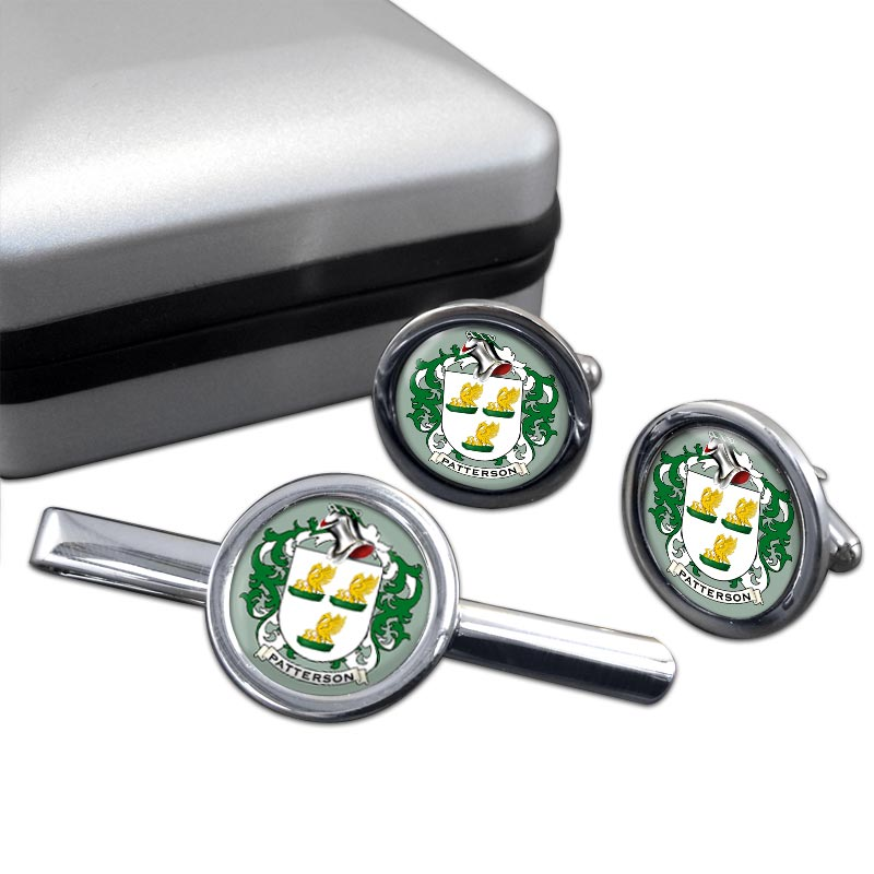 Patterson Coat of Arms Round Cufflink and Tie Clip Set