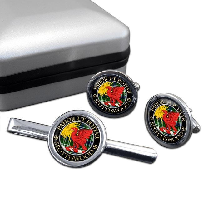 Spottiswood Scottish Clan Round Cufflink and Tie Clip Set