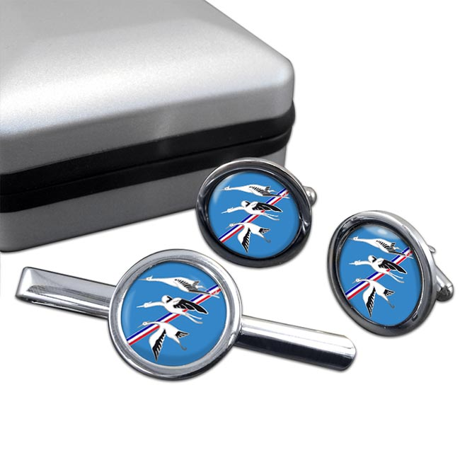 Escadron de Chasse 01-002 ''Cigognes'' (French Air Force) Round Cufflink and Tie Clip Set