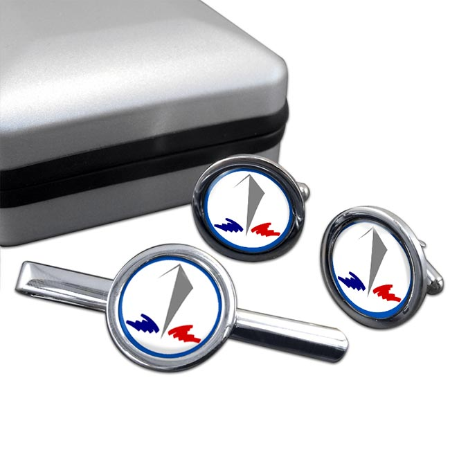 Marine Nationale (France) Round Cufflink and Tie Clip Set