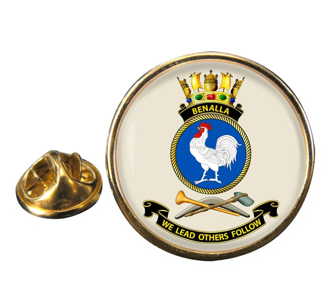 HMAS Benalla Round Pin Badge