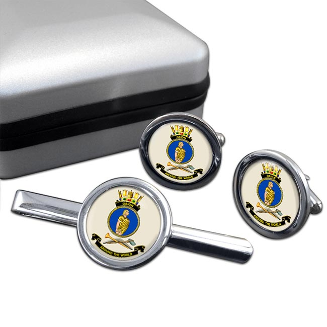 HMAS Orion Round Cufflink and Tie Clip Set