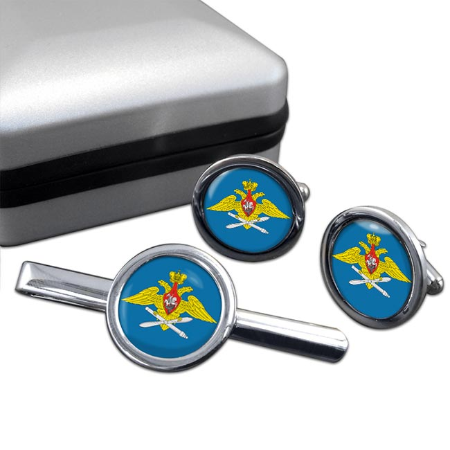 Russian Air Force Round Cufflink and Tie Clip Set