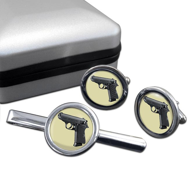 Walther PPK Round Cufflink and Tie Clip Set